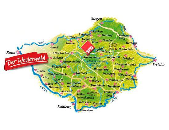 westerwald karte Westerwald Landkarte | Deutschland Karte